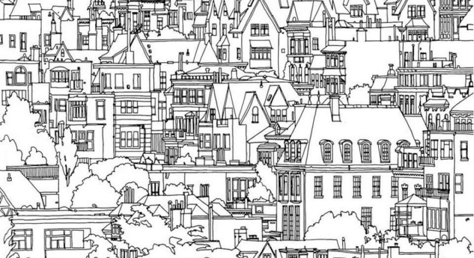 Coloring Book For Adults Cities
